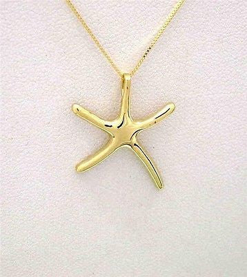 14K SOLID YELLOW GOLD HIGH POLISH SHINY HAWAIIAN SEA STARFISH SLIDE PENDANT MED.