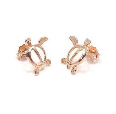 SOLID 14K PINK/ROSE GOLD SHINY HAWAIIAN HONU TURTLE STUD EARRINGS MEDIUM