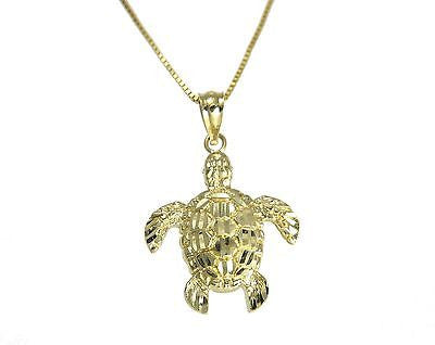 14K SOLID YELLOW GOLD SPARKLY DIAMOND CUT HAWAIIAN SEA TURTLE HONU PENDANT SMALL