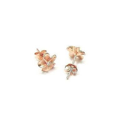 ROSE GOLD PLATED STERLING SILVER 925 HAWAIIAN PLUMERIA FLOWER EARRINGS CZ 10MM