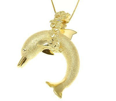 14K SOLID YELLOW GOLD HAWAIIAN DOLPHIN JUMPING PLUMERIA FLOWER LEI PENDANT LARGE