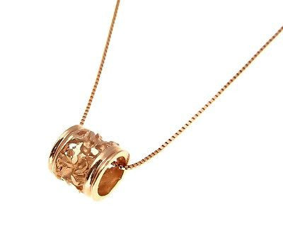 SOLID 14K PINK ROSE GOLD 7MM HAWAIIAN PLUMERIA FLOWER BARREL TUBE SLIDE PENDANT
