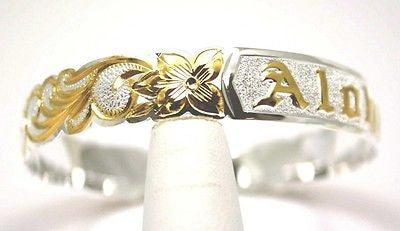 SILVER 925 HAWAIIAN BANGLE BRACELET ALOHA PLUMERIA FLOWER SCROLL CUT OUT 12MM 2T
