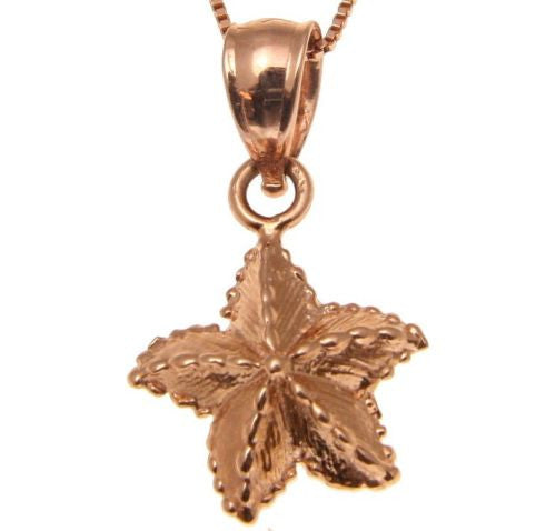 11MM SOLID 14K PINK ROSE GOLD HAWAIIAN OCEAN SEA STAR STARFISH PENDANT CHARM