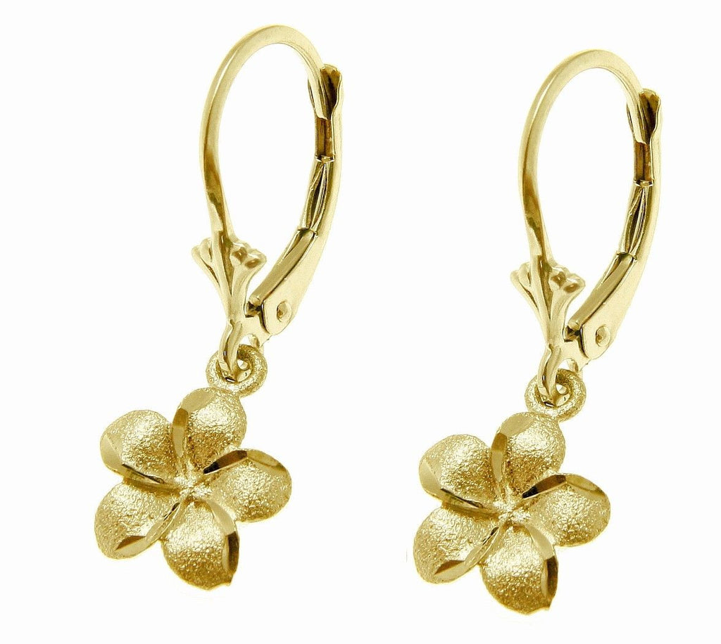 9MM SOLID 14K YELLOW GOLD HAWAIIAN PLUMERIA FLOWER DANGLING EARRINGS LEVERBACK