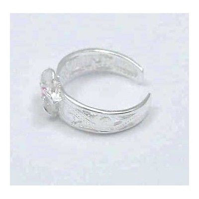 SILVER 8MM HAWAIIAN PLUMERIA C/O SCROLL TOE RING PINK
