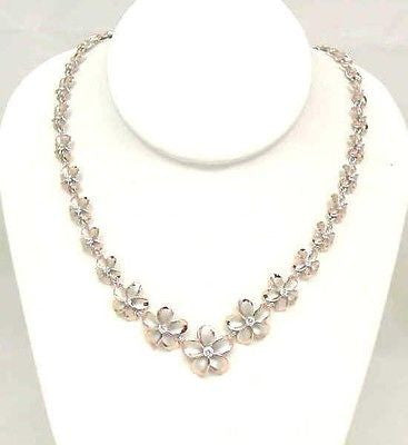 SILVER 925 FANCY HAWAIIAN PLUMERIA NECKLACE RHODIUM PG