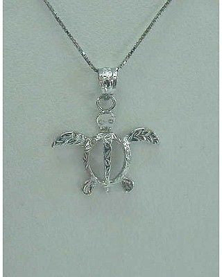 14K SOLID WHITE GOLD HAWAIIAN LEAF LEAVES DESIGN HONU SEA TURTLE PENDANT CHARM