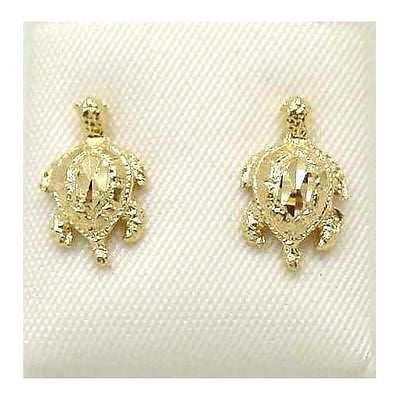 SOLID 14K YELLOW GOLD HAWAIIAN SEA TURTLE STUD POST EARRINGS SMALL