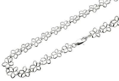 14K YELLOW ROSE WHITE GOLD HAWAIIAN OPEN OUTLINE PLUMERIA FLOWER BRACELET 6.5MM