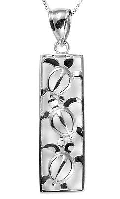 SOLID 14K WHITE GOLD HAWAIIAN 3 CUT OUT HONU SEA TURTLE VERTICAL PENDANT