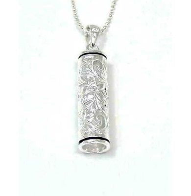 "SILVER HAWAIIAN VERTICAL BARREL ""ALOHA"" PLUMERIA SCROLL"