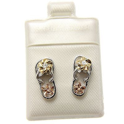 SILVER 925 TRICOLOR HAWAIIAN PLUMERIA FLIP FLOP SLIPPER POST EARRINGS CZ RHODIUM