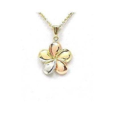 23MM SOLID 14K YELLOW PINK WHITE GOLD TRICOLOR HAWAIIAN PLUMERIA FLOWER PENDANT