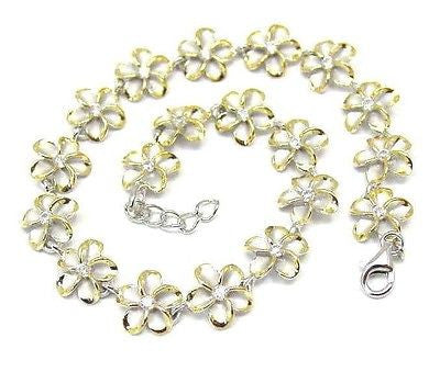 10MM SILVER 925 HAWAIIAN PLUMERIA FLOWER ANKLET RHODIUM YELLOW GOLD 2 TONE