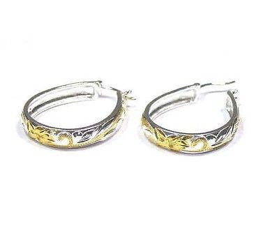 27MM SILVER 925 PLUMERIA SCROLL OVAL HOOP EARRINGS YG