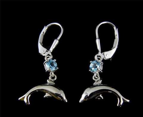 GENUINE BLUE TOPAZ SILVER 925 HAWAIIAN DOLPHIN DANGLE LEVERBACK EARRINGS