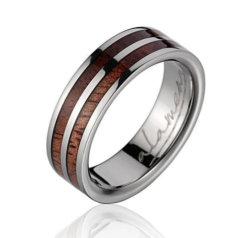 GENUINE INLAY HAWAIIAN KOA WOOD WEDDING BAND RING TITANIUM 6MM SIZE 5-14
