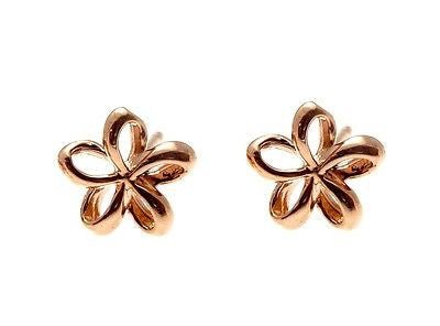 7.5MM 14K PINK ROSE GOLD HAWAIIAN POLISH SHINY OPEN PLUMERIA FLOWER EARRINGS