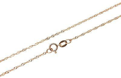 SOLID 14K PINK ROSE GOLD SPARKLY SINGAPORE CHAIN ANKLET 10""