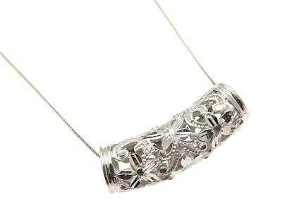 14K YELLOW WHITE GOLD HAWAIIAN DIAMOND CUT PLUMERIA SCROLL BARREL SLIDE PENDANT