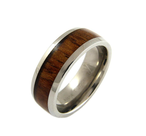 GENUINE INLAY HAWAIIAN KOA WOOD BAND RING TITANIUM COMFORT FIT 8MM SIZE 6 -14