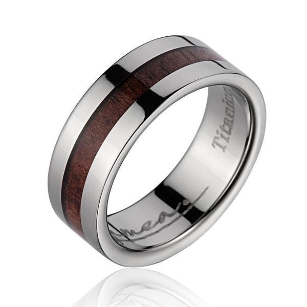 GENUINE INLAY HAWAIIAN KOA WOOD WEDDING BAND RING TITANIUM 8MM SIZE 3-14