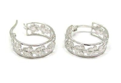 14K SOLID WHITE GOLD HAWAIIAN PLUMERIA FLOWER HOOP EARRINGS DC BORDER