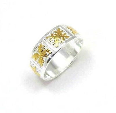 8MM STERLING SILVER 925 HAWAIIAN 2 TONE YELLOW HONU TURTLE QUILT BAND RING