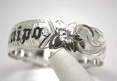 SILVER 925 HAWAIIAN BANGLE BRACELET BLACK ENAMEL KUUIPO SCROLL CUT OUT EDGE 18MM