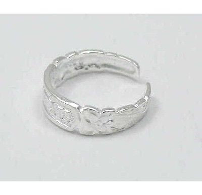 "SILVER ""HAWAII"" PLUMERIA FLOWER SCROLL TOE RING"