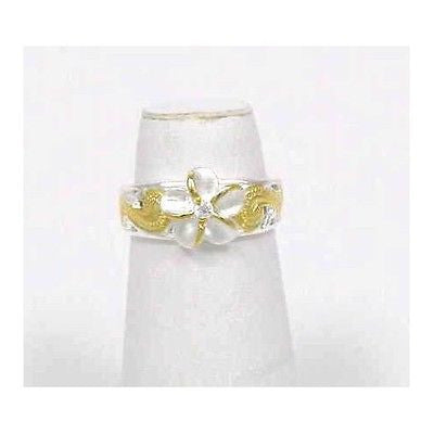 2 TONE YELLOW 925 SILVER 8MM HAWAIIAN PLUMERIA FLOWER CUT OUT SCROLL TOE RING CZ