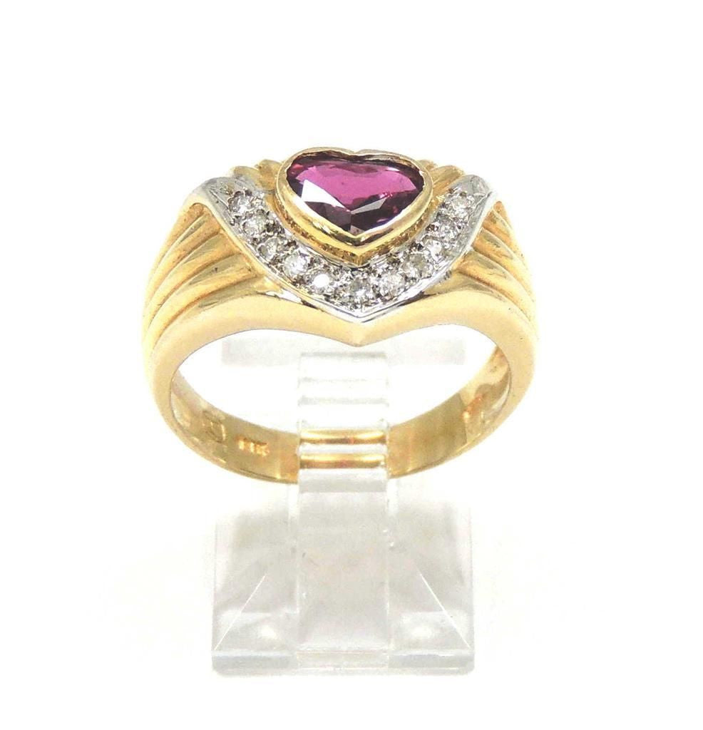 0.72CT RUBY AND DIAMOND RING SET IN SOLID 14K YELLOW GOLD