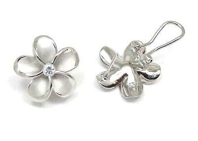 18MM SILVER 925 HAWAIIAN PLUMERIA OMEGA BACKS RHODIUM