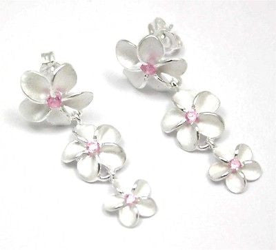 SILVER 925 HAWAIIAN 3 PLUMERIA DANGLING EARRINGS PINK CZ