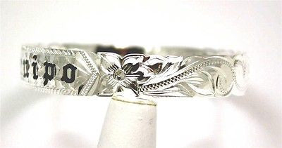 SILVER 925 HAWAIIAN BANGLE BRACELET BLACK ENAMEL KUUIPO SCROLL CUT OUT EDGE 6MM