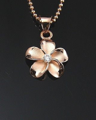 PINK ROSE SILVER 925 HAWAIIAN PLUMERIA FLOWER PENDANT CZ 12MM