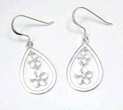 SILVER 925 HAWAIIAN SM LG PLUMERIA DANGLE EARRINGS WIRE
