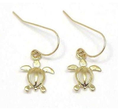 14K HAWAIIAN BABY HONU TURTLE DANGLING EARRINGS ON WIRE