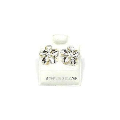 SILVER 925 SHINY HAWAIIAN PLUMERIA EARRING CZ 12MM 2T