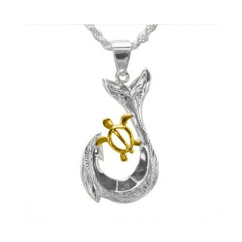 SILVER 925 HAWAIIAN SCROLL FISH HOOK YELLOW GOLD PLATED HONU TURTLE PENDANT 13MM