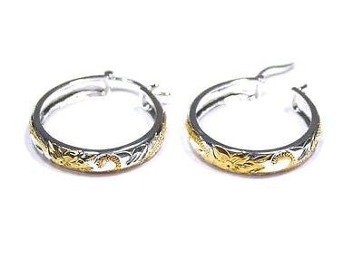 28MM SILVER 925 PLUMERIA SCROLL ROUND HOOP EARRINGS YG