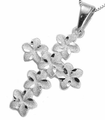 14K SOLID WHITE GOLD HAWAIIAN PLUMERIA FLOWER CROSS PENDANT CHARM