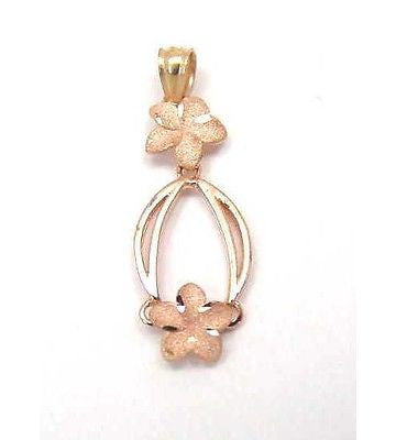 14K ROSE GOLD HAWAIIAN PLUMERIA FLOWER DANGLING PENDANT