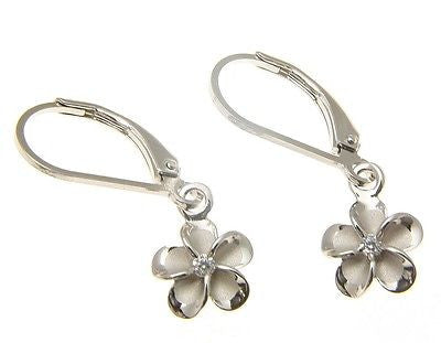 8MM STERLING SILVER 925 HAWAIIAN PLUMERIA FLOWER LEVERBACK EARRINGS RHODIUM