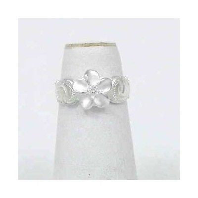 925 STERLING SILVER 8MM HAWAIIAN PLUMERIA FLOWER SCROLL TOE RING WHITE CZ