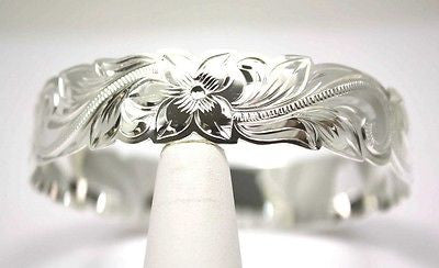 SILVER 925 HAWAIIAN BANGLE BRACELET SCROLL RAISED LETTER KUUIPO CUT OUT 18MM