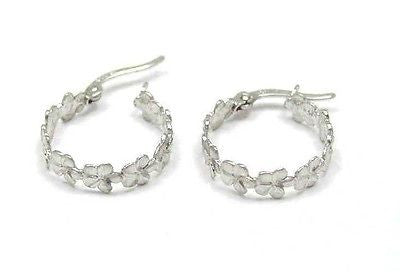 SOLID 14K WHITE GOLD HAWAIIAN PLUMERIA FLOWER HOOP EARRINGS