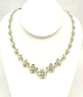 SILVER 925 FANCY HAWAIIAN PLUMERIA NECKLACE RHODIUM YG
