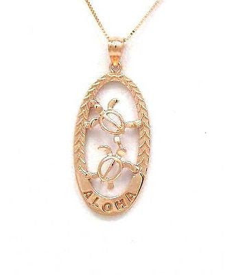 14K SOLID PINK ROSE GOLD HAWAIIAN HONU SEA TURTLE ALOHA PENDANT CHARM